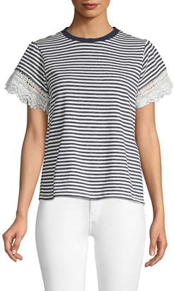 ENGLISH FACTORY Striped Lace-Trimmed Cotton Tee