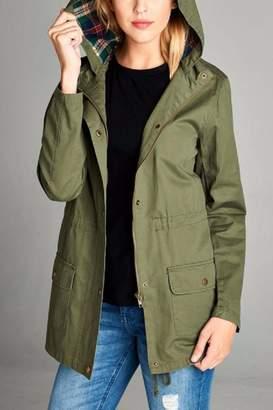 Active Basic Plaid Hood Utility Jacket $48 thestylecure.com