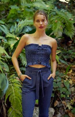 Me To We Lace-Up Smocked Tube Top