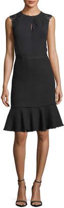 Rebecca Taylor Sleeveless Tweed Lace-Back Sheath Dress