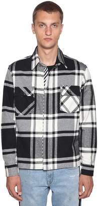 Off-White Fuchsia Stencil Cotton Flannel Shirt
