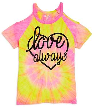 Flowers by Zoe Girls' Cold-Shoulder Tie-Dye Love Always Tee - Big Kid, Little Kid