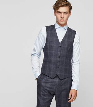 Reiss CAINE W CHECK WOOL WAISTCOAT Airforce Blue