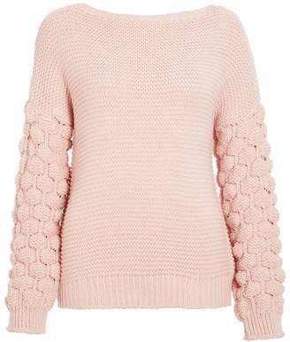 Quiz Pale Pink Knit Bubble Sleeve Jumper