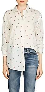 Saint Laurent Women's Star-Print Silk Blouse - Beige, Tan