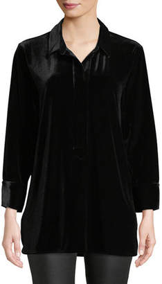 Joan Vass 3/4-Sleeve Side-Slit Relaxed Velvet Tunic Shirt