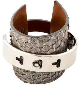 Ralph Lauren Python Leather Steel Cuff