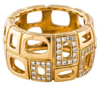 Movado 18K Wide Diamond Abstract Ring