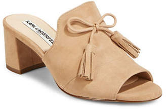 Karl Lagerfeld PARIS Holly Bei Bow Leather Mules