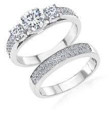 Lord & Taylor Rhodium-plated Sterling Silver and Cubic Zirconia Engagement and Wedding Band 2-Piece Ring Set