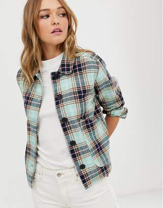 Monki button up jacket with check print in multi