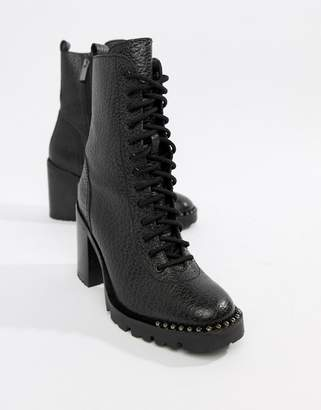 Bronx tumbled leather lace up heeled ankle boots