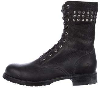 Frye Leather Studded Combat Boots