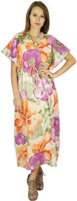 Floral Bohemian Phagun Cotton Caftan Dress Maxi Nightwear Kaftan
