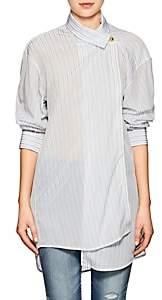 Balenciaga Women's Button-Detailed Striped Semi-Sheer Crepe Blouse - White