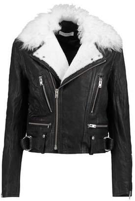 IRO Shearling-Trimmed Leather Biker Jacket