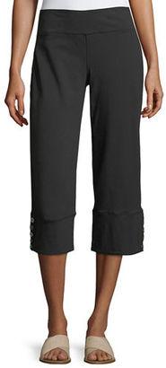 Neon Buddha Seascape Button-Cuff Capri Pants $85 thestylecure.com
