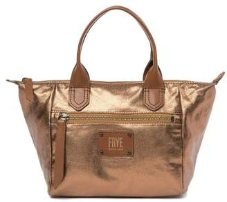 Frye Ivy Small Metallic Leather-Trimmed Satchel
