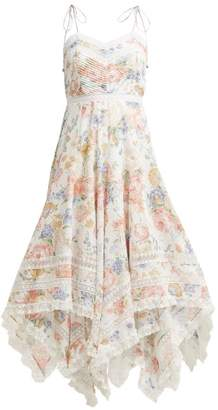 Zimmermann Bowie Floral Print Scarf Dress - Womens - Cream Print
