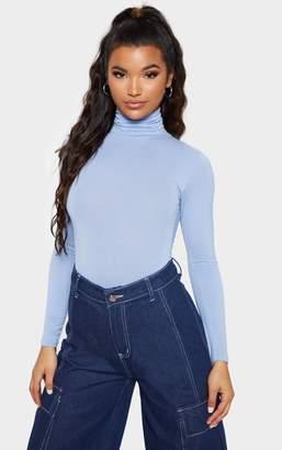 PrettyLittleThing Baby Blue Roll Neck Long Sleeve Bodysuit