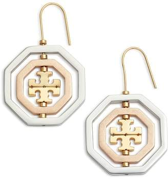 Tory Burch Logo Spinner Drop Earrings