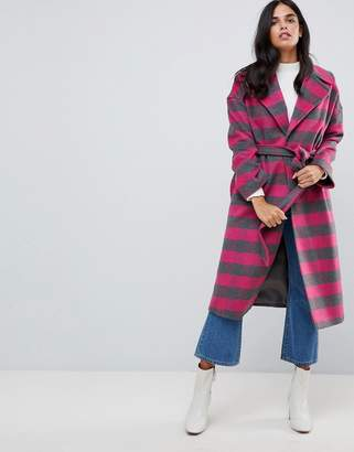 Helene Berman Wool Blend Revere Collar Pink Check Coat
