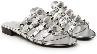 Balenciaga Stud Embellished Metallic Leather Sandals