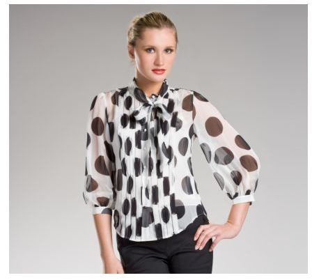 Large Dot Print Silk Chiffon Blouse