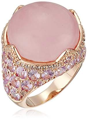 Kenneth Jay Lane CZ by Round/Oval Cubic Zirconia Cab Rose Quartz Ring