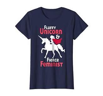 Womens Fluffy Unicorn & Fierce Feminist: Feminism T-Shirt   Gift