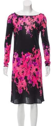 Blumarine Floral Printed Long Sleeve Dress