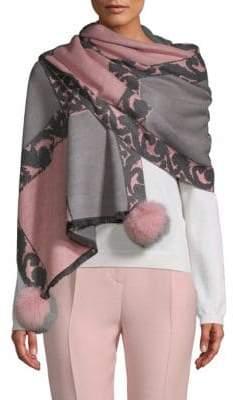La Fiorentina Dyed Fox Fur Pom-Pom Floral Scarf