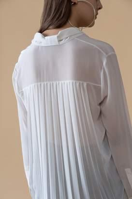 Genuine People Pleated Back Sheer Silk Blouse