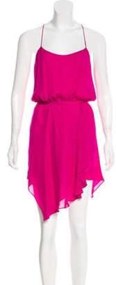 Haute Hippie Ruffled Silk Dress Magenta Ruffled Silk Dress