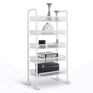 Metal Rolling Cart with Shelves Heavy Duty Kitchen Utility Carts on wheels, Metal Mesh Utility Storage Cart for Food Storage, Bathroom Organization Or as a Serving Trolley, by Lifestan