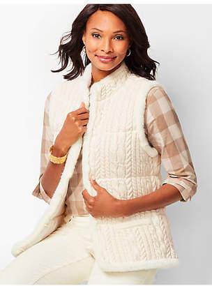 Talbots Faux-Fur-Trim Cable Sweater Vest