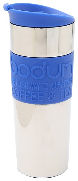 Bodum Stainless Steel Thermal Travel Press French Press Coffeemaker 15 oz. (Blue) Appliances Cookware