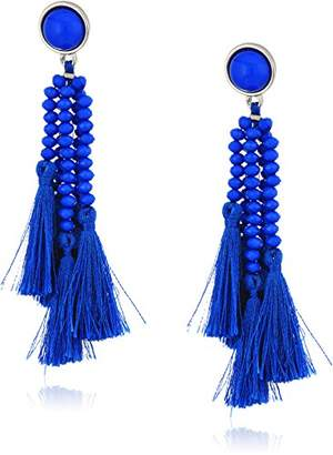 Steve Madden Silver Tone Blue Stone & Beaded Tassel Post Drop Earrings
