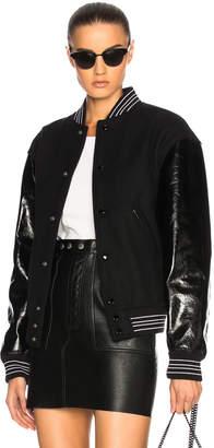 Saint Laurent Leather Sleeve Teddy Bomber Jacket
