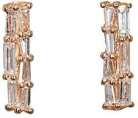 Nak Armstrong Women's White Diamond Bar Stud Earrings