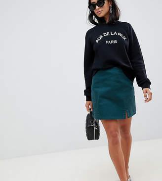 Asos DESIGN Petite denim split front mini in emerald green