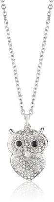 Jocelyn Queen Owl Animal Rhodium Plated Pendant Necklace with Crystal