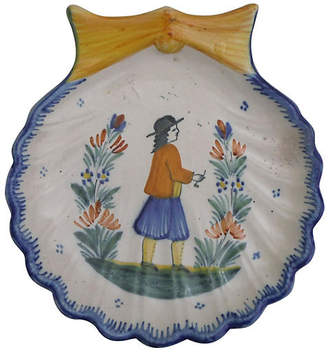 One Kings Lane Vintage Faience Quimper Shell Wall Platter - majolicadream
