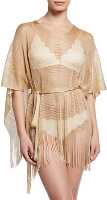 Missoni Fringe Bottom Woven Coverup, Nude/Champagne