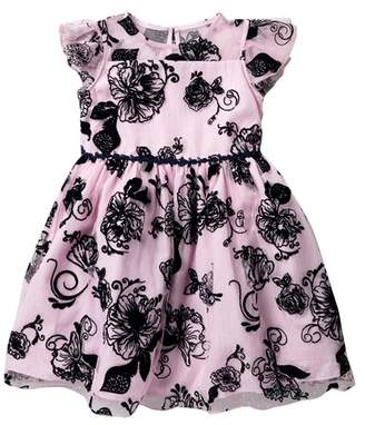 Laura Ashley Velvet Floral Mesh Dress (Toddler & Little Girls)