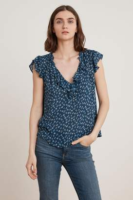 Velvet by Graham & Spencer TIRION SHEER PRINTED GAUZE RUFFLE TOP