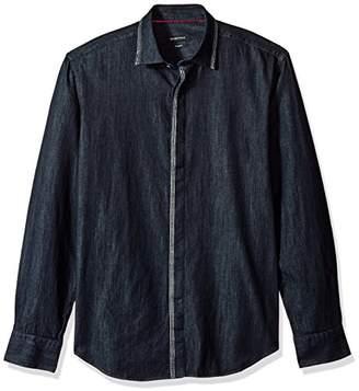 Bugatchi Men's Long Sleeve Fitted Denim Chambray Cotton Shirt