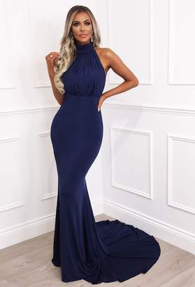 446a0290e677 Pink Boutique Cordelia Navy Slinky Halterneck Maxi Dress