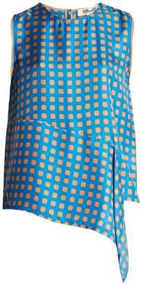 Diane von Furstenberg Sleeveless Mura Tile-print silk-twill top