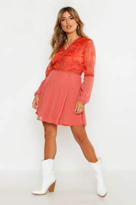 boohoo Crochet Lace Insert Skater Dress
